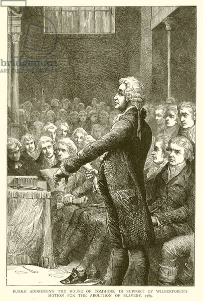 Burke addressing the House of Commons, in Support of Wilberforce's Motion for the Abolition of Slavery, 1789 (engraving)