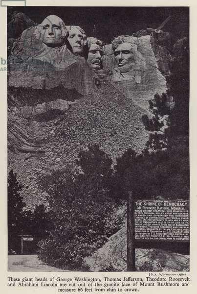 Mount Rushmore National Memorial, South Dakota, USA (b/w photo)