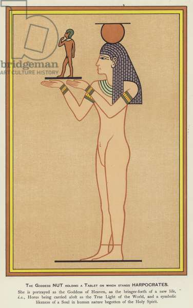 The Goddess Nut holding a tablet on which stands Harpocrates (colour litho)