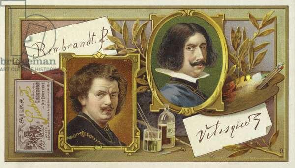 Rembrandt van Rijn and Diego Velasquez (chromolitho)