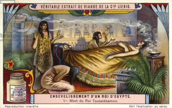 Death of the Ancient Egyptian pharaoh Tutankhamun, 1323 BC (chromolitho)
