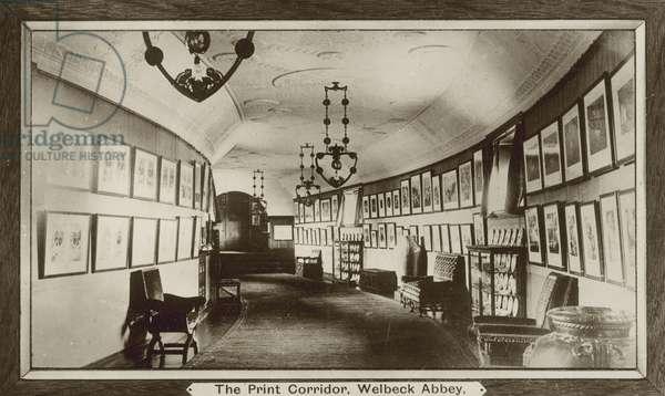 Print Corridor, Welbeck Abbey, Nottinghamshire (b/w photo)