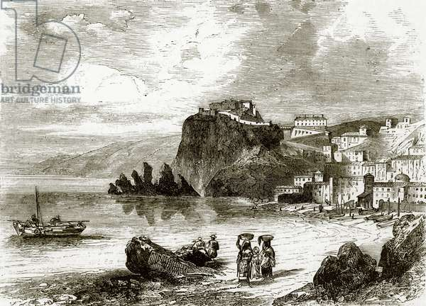 The rock and town of Scylla, coast of Sicily