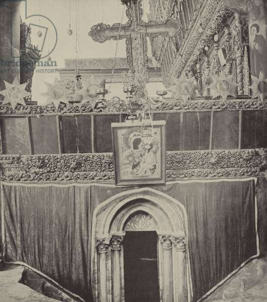 Entrance to grotto in Church of Nativity, in the neighborhood where Boaz and Ruth met (b/w photo)