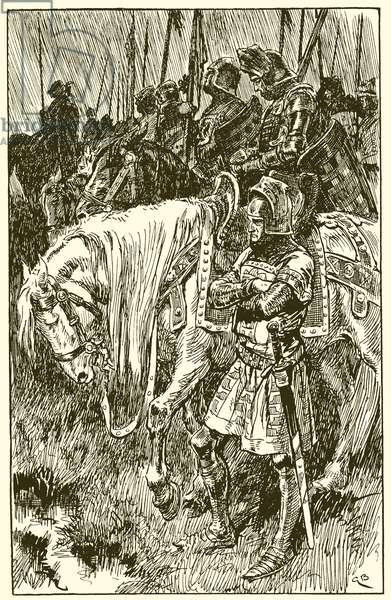 Englishmen waiting for the morning of the battle of Agincourt (engraving)