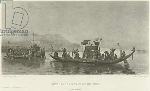 Funeral of a mummy on the Nile (gravure)