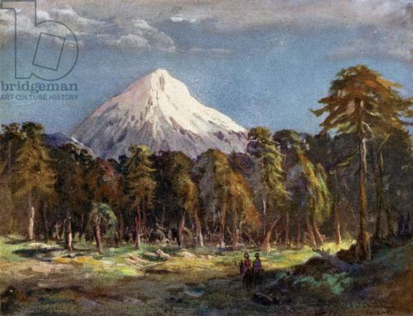 Mount Llanin, Southern Andes 1914 (colour litho)