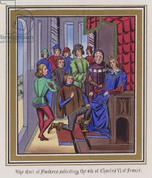 The Earl Of Flanders soliciting the aid of Charles VI Of France (coloured engraving)
