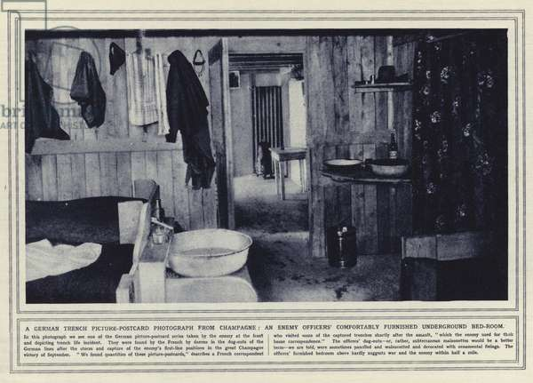 A German trench picture-postcard photograph from Champagne, an enemy officers' comfortably furnished underground bed-room (b/w photo)