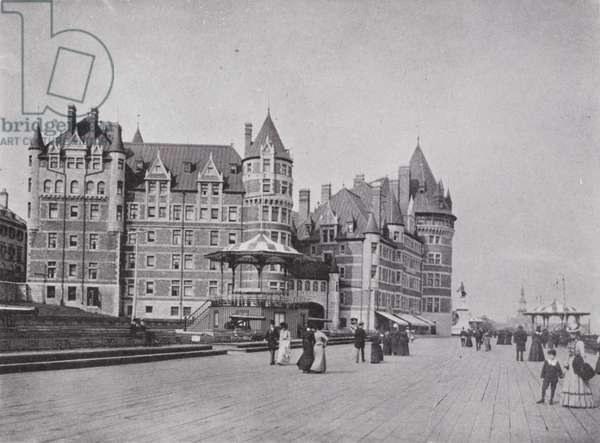 Chateau Frontenac and Dufferin Terrace (b/w photo)