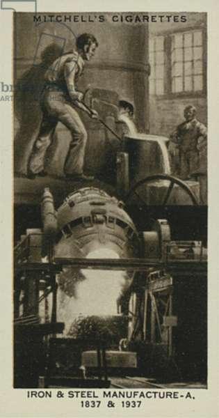 Wonderful Century, 1837-1937: Iron and Steel Manufacture, Iron Foundry, Bessemer Converter (litho)