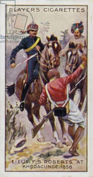 Victoria Cross: Lieut F S (now FM Rt Hon Earl) Roberts, at Khodagunge, India, 1858 (colour litho)