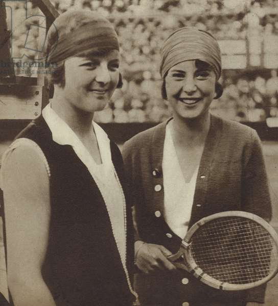 Tennis players Betty Nuthall (Britain) and Cilli Aussem (Germany) at Wimbledon, 1927 (b/w photo)