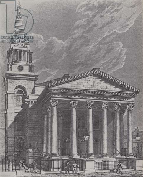St George's Church, Bloomsbury (litho)