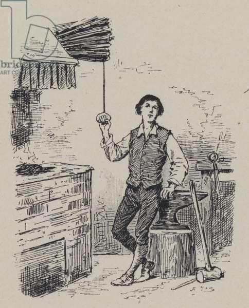 Italian composer Gioachino Rossini as a boy (engraving)