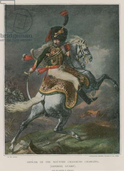 Officer of the Mounted Chasseurs charging (colour litho)
