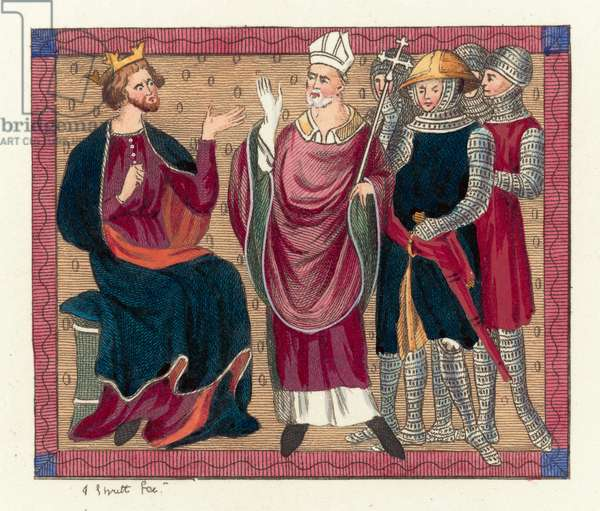 King Henry II and Thomas Becket (coloured engraving)
