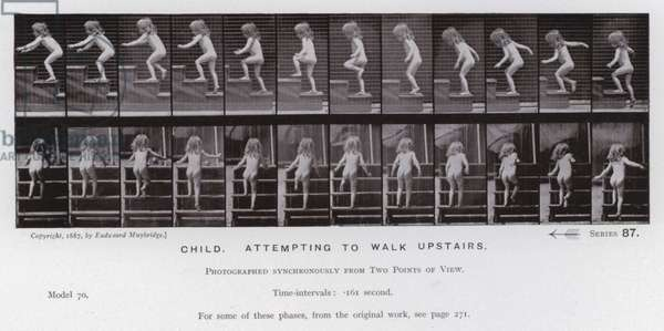 The Human Figure in Motion: Child, attempting to walk upstairs (b/w photo)