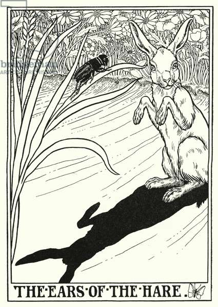 Fables of La Fontaine: The ears of the hare (litho)