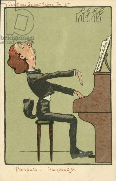 Pompous piano playing (colour litho)