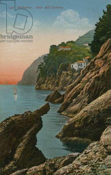 Portofino, Italy. Gola dell' Inferno. Postcard sent in 1913.