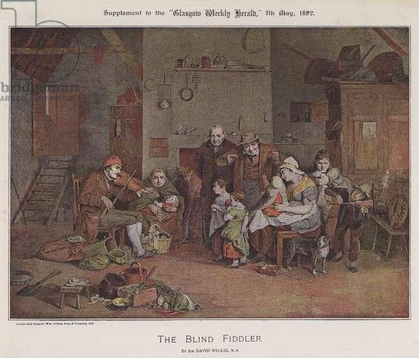 The Blind Fiddler (colour litho)