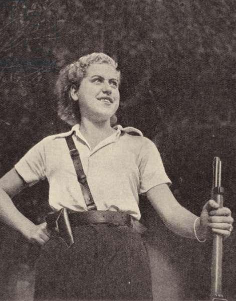 Woman member of the Republican militia during the Spanish Civil War (b/w photo)