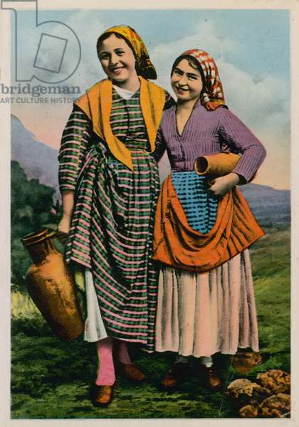 Postcard of two peasant girls, sent in 1913 (hand-coloured photo)