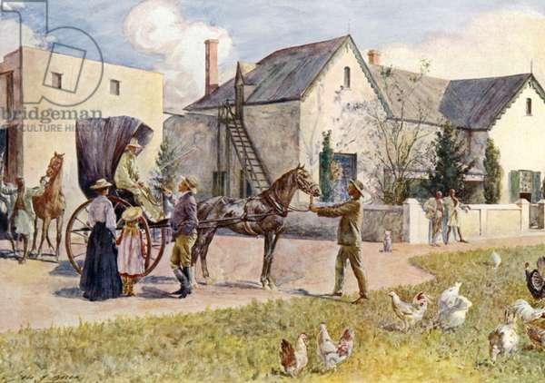 A South African farm (colour litho)