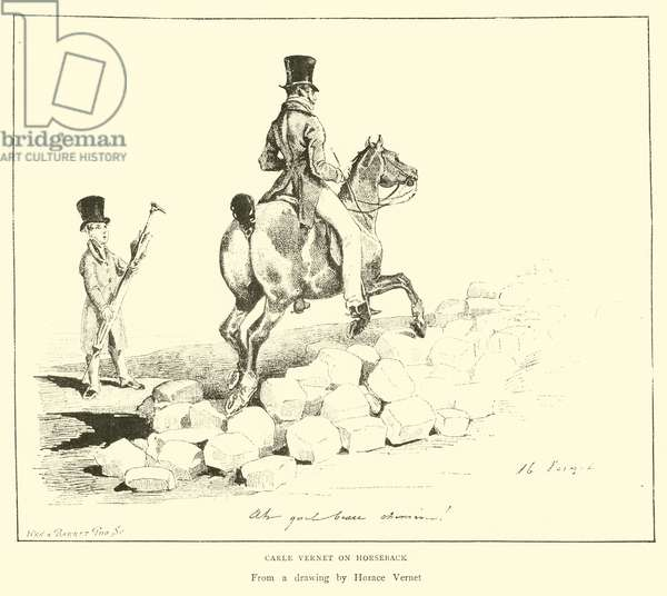 Carle Vernet on Horseback (engraving)