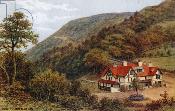 Hunters Inn, N Devon (colour litho)
