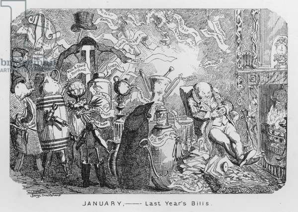 January, Last Year's Bills (engraving)