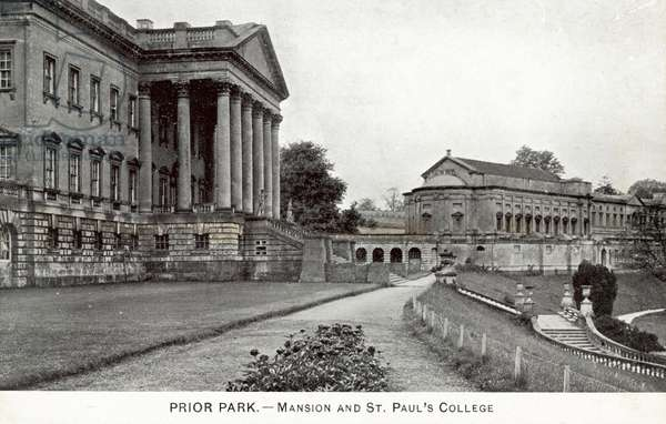 Prior Park, Mansion and St Paul's College (b/w photo)