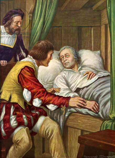 Cristopher Columbus recovering from sickness to find his brother by his bedside