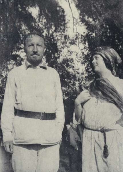 Photograph taken of Commissar Podvowsky and Isadora Duncan, Sparrow Hills, Moscow, August 1921 (b/w photo)