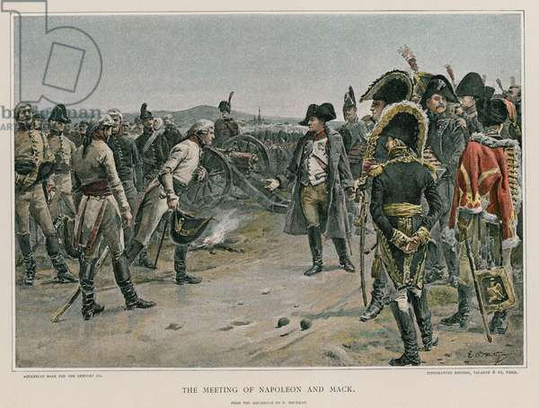 The meeting of Napoleon and Mack (colour litho)