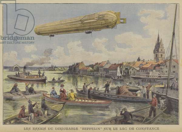 Test flight of the German Zeppelin LZ4 over Lake Constance (colour litho)