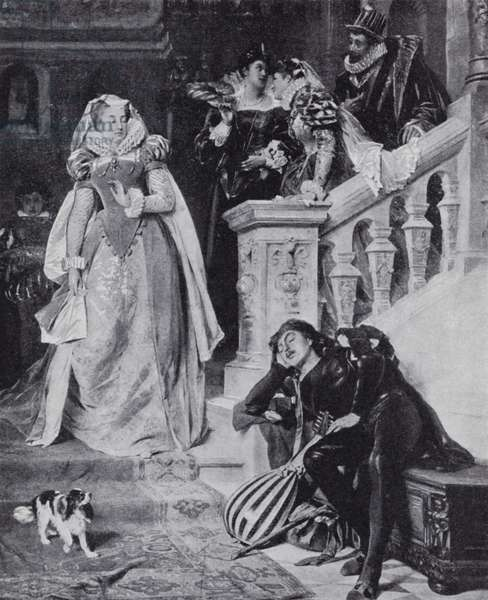 Mary Queen of Scots with her Italian courtier, David Rizzio (litho)