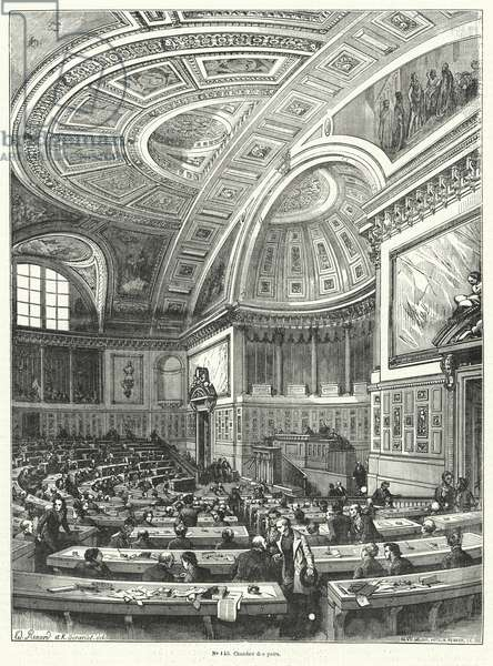 Chambre des Pairs (Chamber of Peers), upper house of the French parliament from 1814 until its abolition after the Revolution of 1848 (engraving)