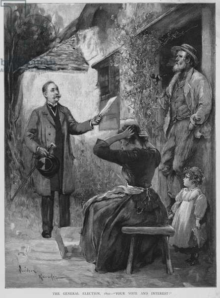 Canvassing for votes during the 1892 British General Election campaign (litho)