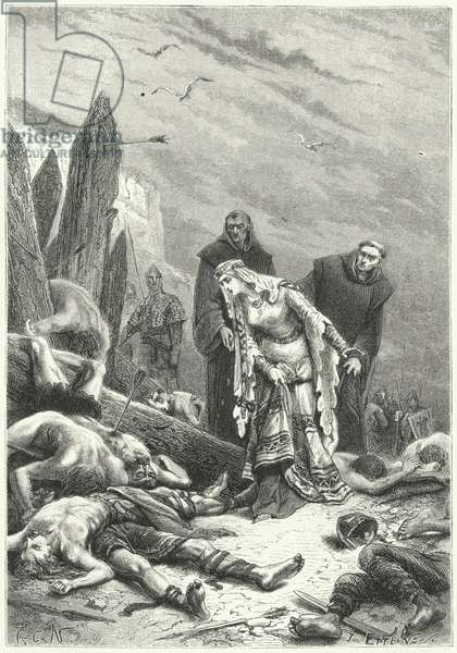 Edith the Fair discovers the body of King Harold on the battlefield of Hastings, 1066 (engraving)
