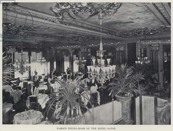 Famous Dining-Room of the Hotel Savoy (b/w photo)