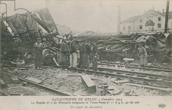 Train crash at Melun in France, 4 November 1913.  View of the rubble. Postcard sent in 1913.