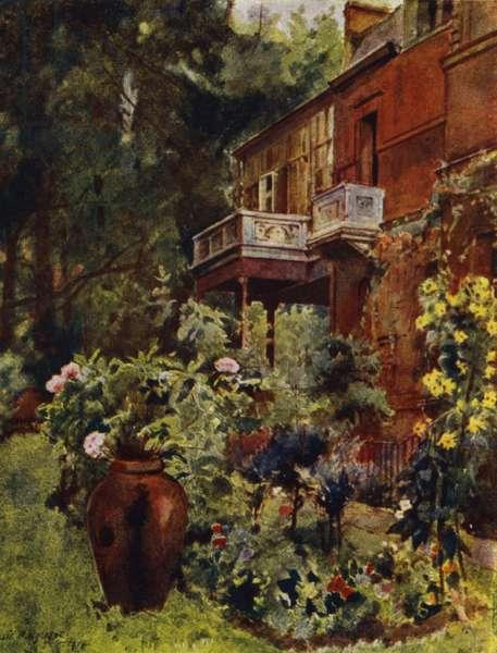 Leighton House, The Studio Balcony, from Garden (colour litho)