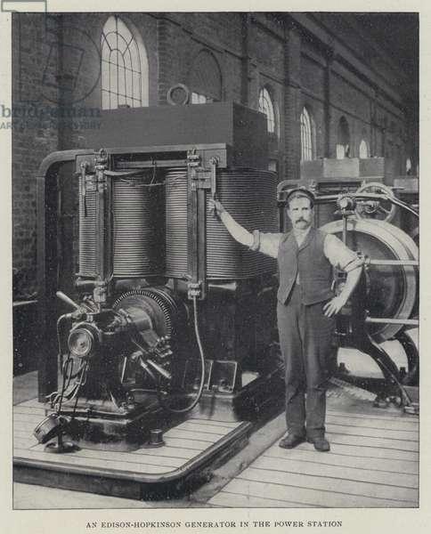 An Edison-Hopkinson Generator in the Power Station (b/w photo)