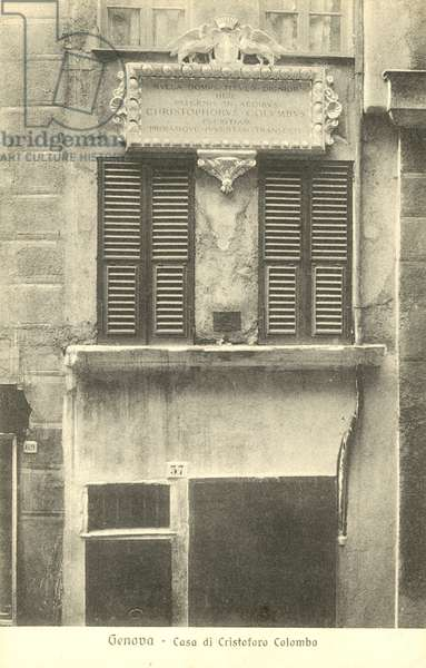Genoa, Italy, House of Christopher Columbus (b/w photo)