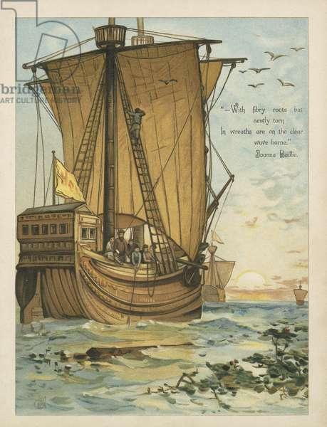 Columbus sailing through the Sargasso Sea (chromolitho)