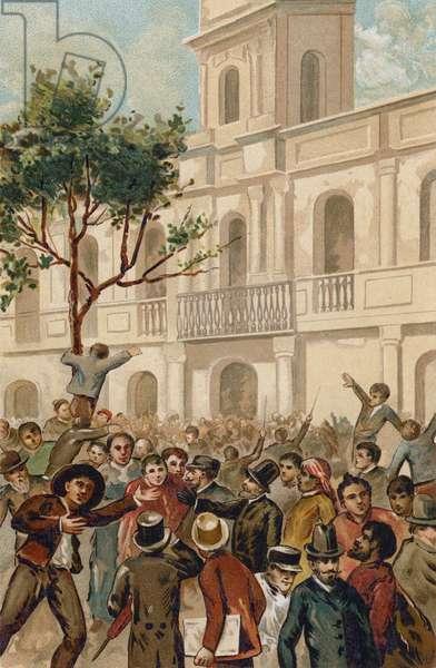 Uprising against President Juarez Celman of Argentina, Buenos Aires, 1890 (chromolitho)
