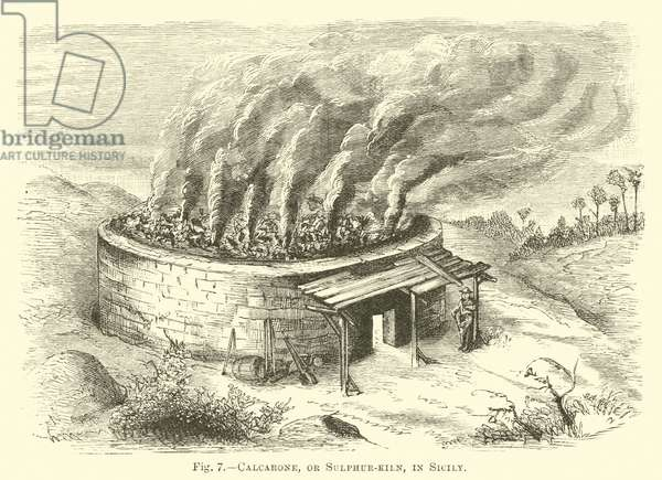 Calcarone, or Sulphur-kiln, in Sicily (engraving)