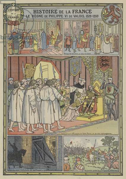 The reign of Philip VI of France, 1328-1350 (colour litho)